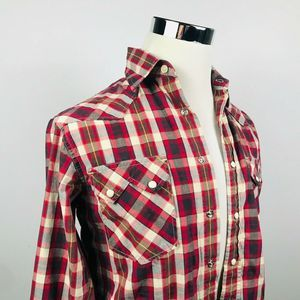 Lucky Brand Mens XS Pearl Snap Shirt Red Plaid